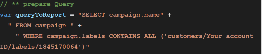 new AdWords AWQL query language