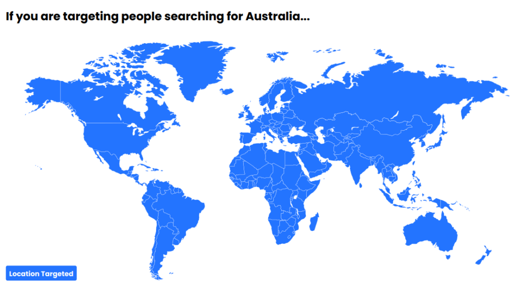 If you are targeting people searching for Australia...